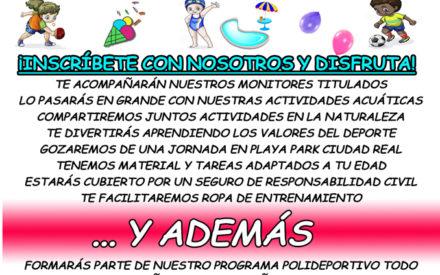 Las niñas y niños inscritos en la I Jornada temática del Quijote Futsal gozarán de una jornada en Playa Park C. Real