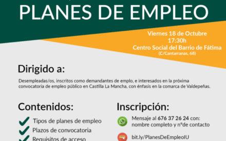 Izquierda Unida impartirá un curso de formación sobre Planes de Empleo gratuito en Valdepeñas
