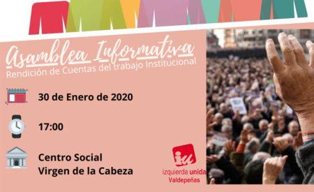 IU Valdepeñas rendirá cuentas de su trabajo institucional en una reunión abierta con vecinos