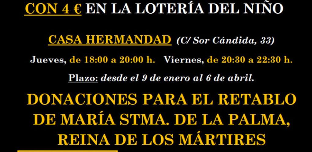 Misericordia y Palma informa de los horarios de pago de las papeletas premiadas del sorteo de la Lotería del Niño