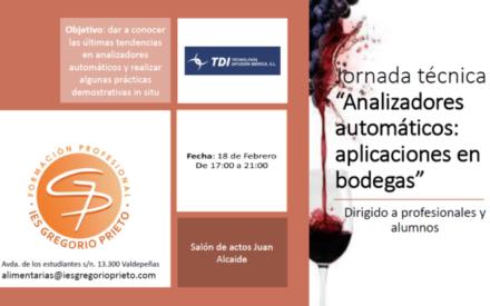 Jornadas Técnicas «Analizadores automáticos; aplicaciones en bodegas» en el IES Gregorio Prieto de Valdepeñas