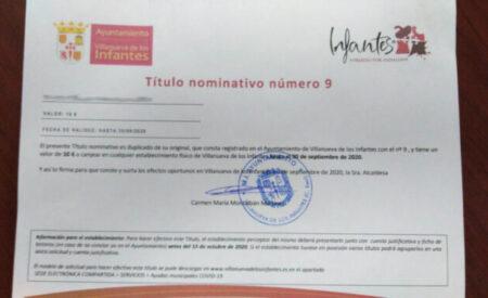 Villanueva de los Infantes pone en circulación 9000 euros en forma de bonos para canjear en las empresas y establecimientos Infanteños