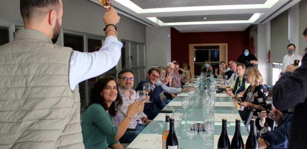 """Periodistas y blogueros gastronómicos conocen cómo se vendimia """"entre volcanes"""" en el Campo de Calatrava"""